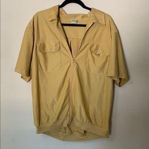 Men's vintage  80s zip up short sleeve shirt